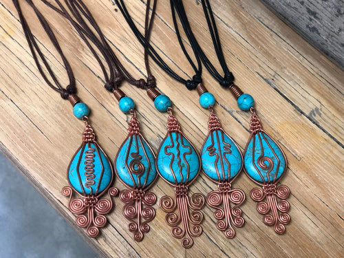 Pendant - Turquoise with Copper Wire