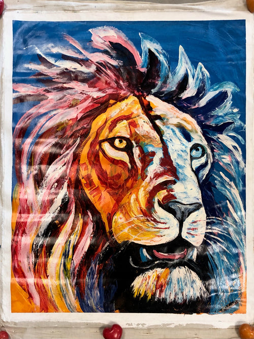 Painting - Colorful lion xl