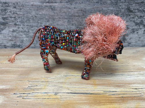 Beaded animal - lion with sisal  mane