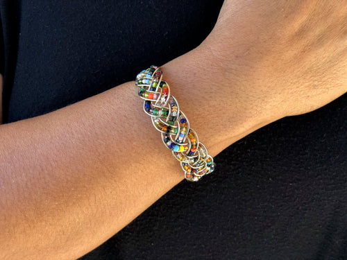 Bracelet - Wire & bead braided cuff