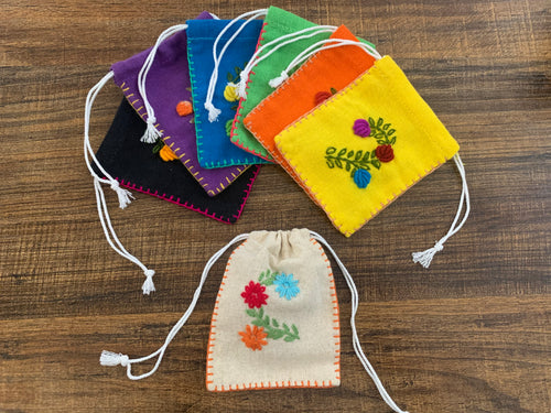 Flower drawstring bag sm - set of 5