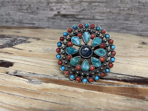 Antique Silver Ring - Turquoise Coral and Lapis