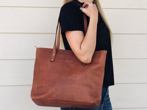 Leather tote - Zipper closure