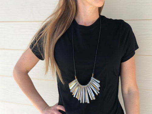 Necklace - Brass & Silver Fringe w/ Cord