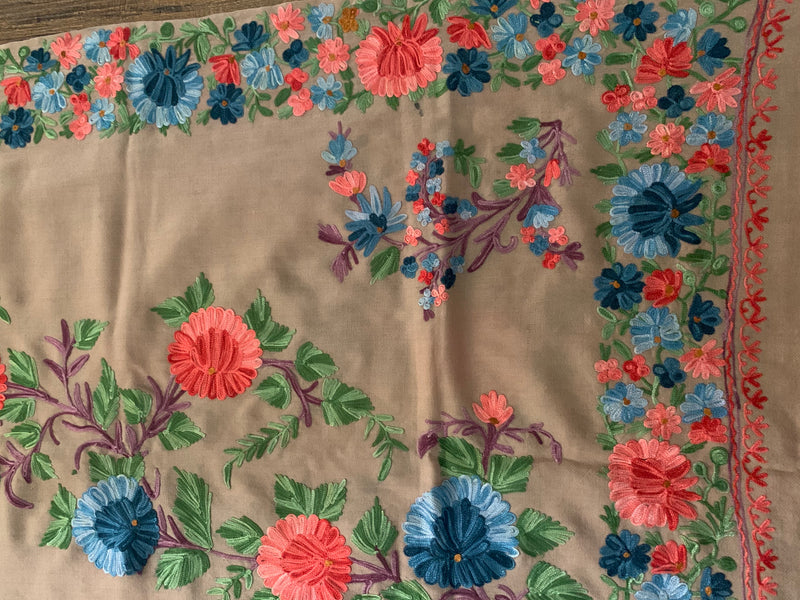 Embroidered flower shawl lg