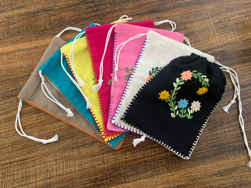 Flower drawstring bag med - set of 3