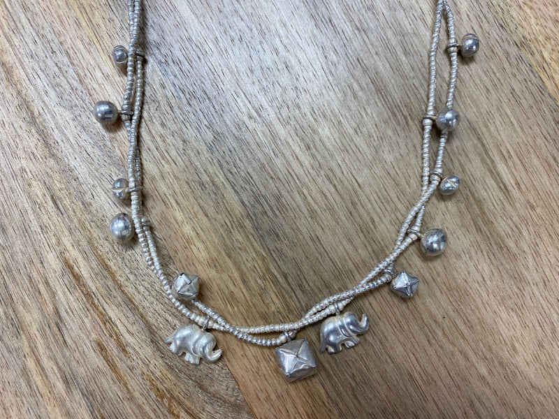 Silver Necklace -  Elephant & Box DELUXE