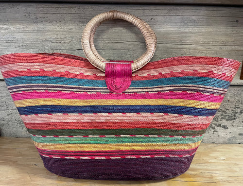 Colorful Woven Basket Purse LG
