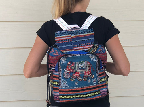 Backpack  - animal xstitch lg woven