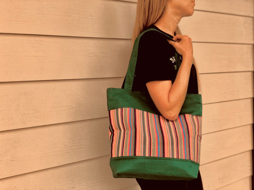 Large tote bag - green striped