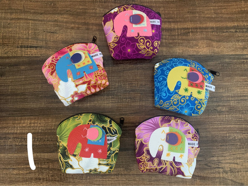 5pcs set- elephant glitter flower coin purses