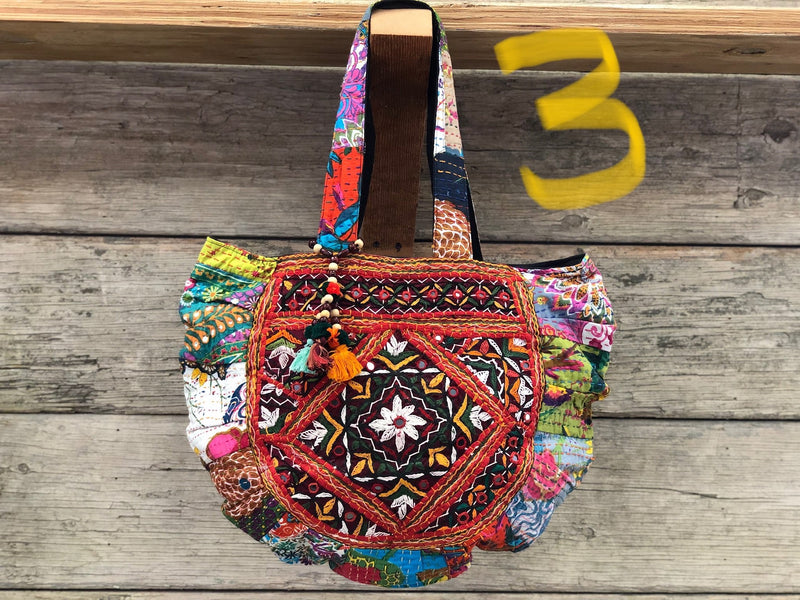Shoulder bag - kantha emb