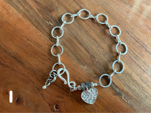 Bracelet - silver link with charm