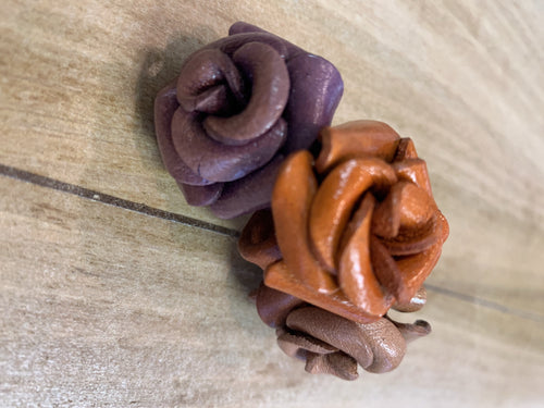 Ring - leather flower adjustable