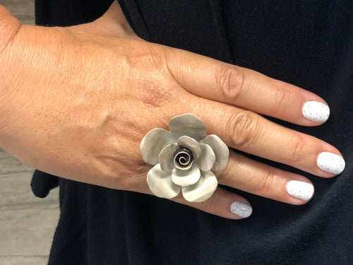 Thai Silver Flower Ring Adjustable - LG