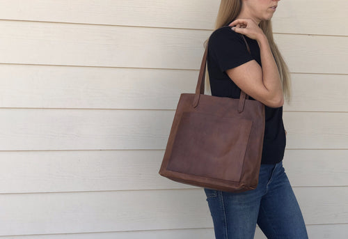 Leather tote - Open style