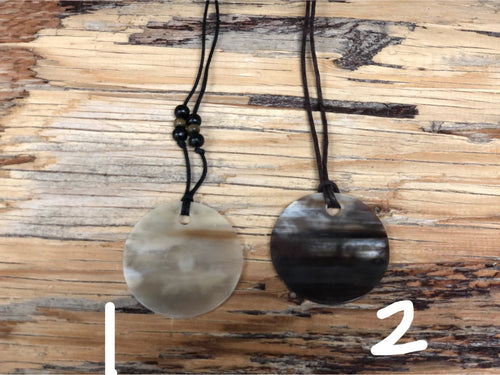 "Cowhorn necklaces - 2"" circle"