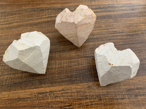 Raw soapstone hearts