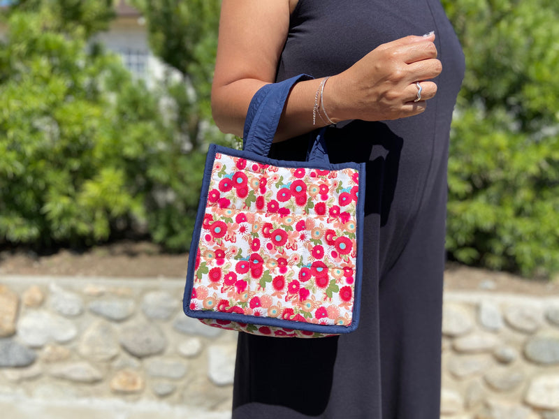 Tiny Flower Tote - 3x3 - TWO COLORS