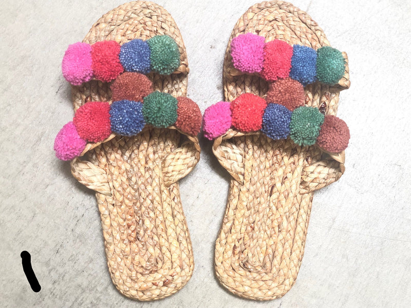 Hyacinth pom pom sandals size 35/36 - women's 5-6
