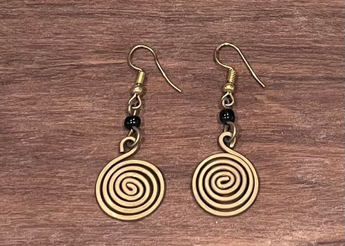 Earrings - spiral brass