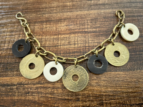 Bracelet- brass with coins & horn