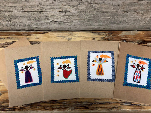 Embroidered Christmas Card - Angels