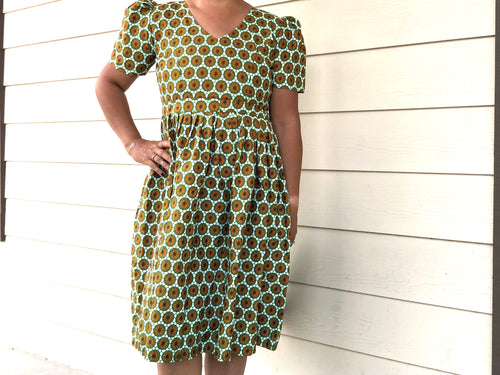 Kitenge dress fitted - Short sleeve