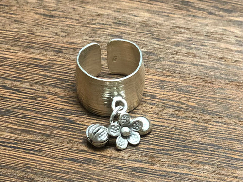 Thai Silver Ring w/ Dangles - Adjustable