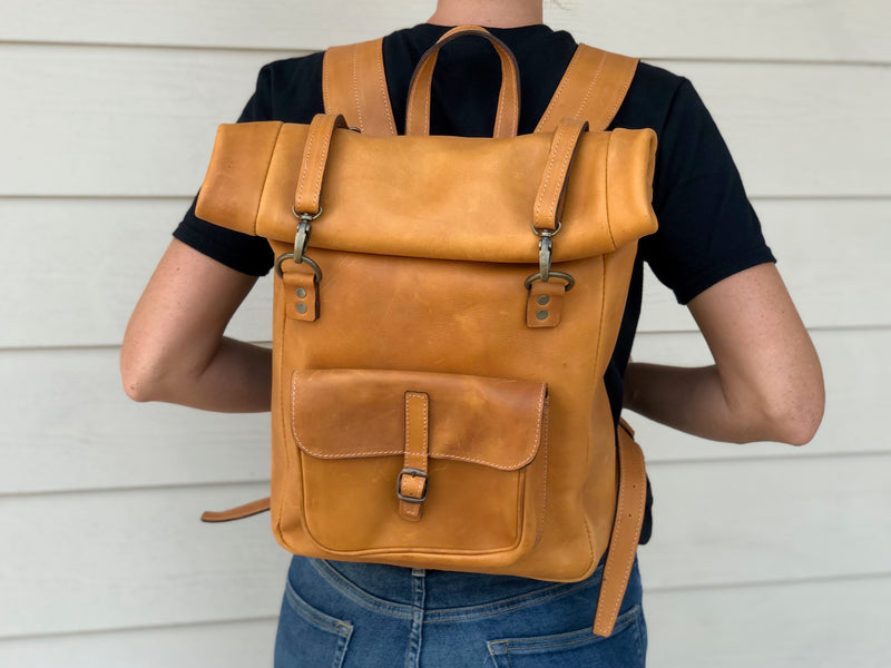 Leather backpack - foldover