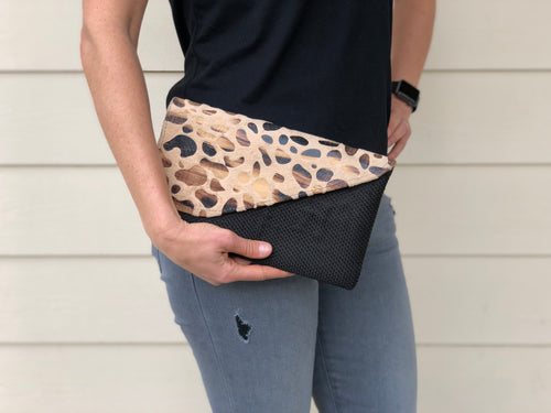Woven Clutch w/ Textured Flap