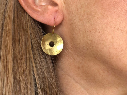 Earrings - brass buttons