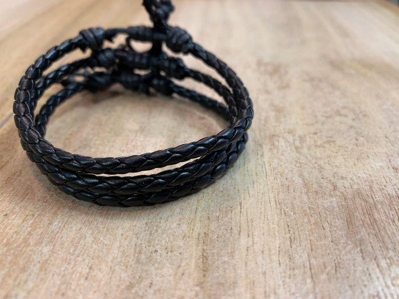 Adjustable bracelets - vegan leather & braid set of 3