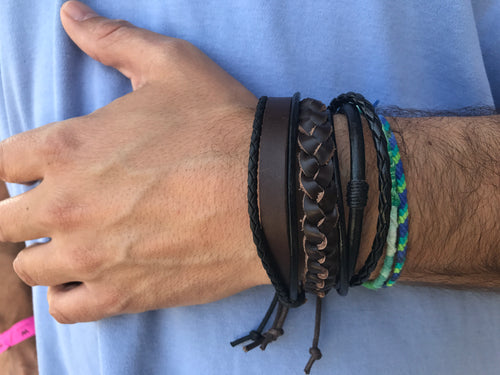 Leather bracelet adjustable - multiple styles!