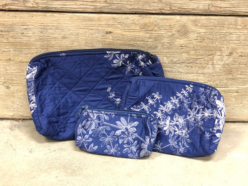 Blue w/white flower cosmetic bag - MORE SIZES