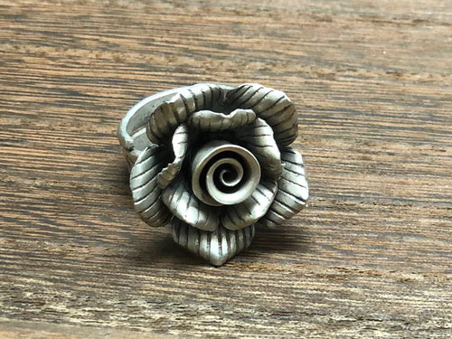 Thai Silver Flower Ring Adjustable w/ Lines