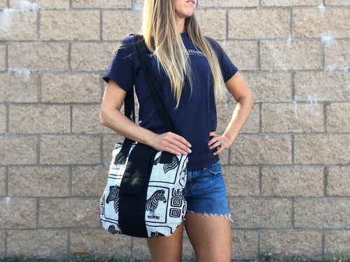 Zebra print long shoulder bag
