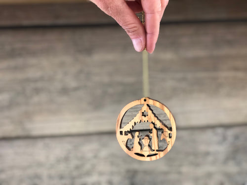 Wooden nativity ornaments