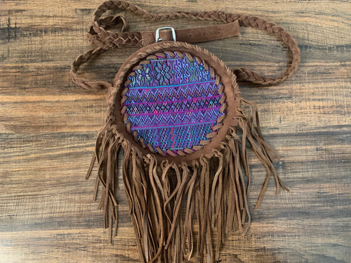 Crossbody - leather circle with fringe