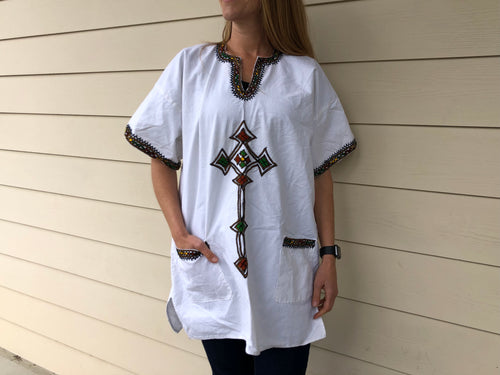 Cotton Embroidered Ethiopian Top