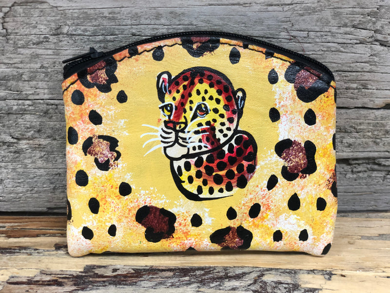 Handpainted Leather Coin purse