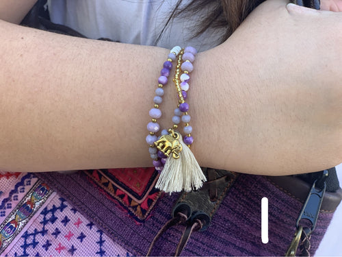 Bracelet - stone tassel elephant MORE COLORS