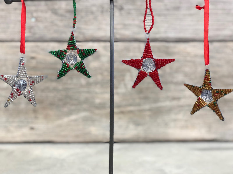 Wire and bead star ornament