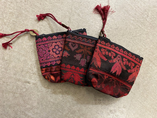 Coin purse hilltribe reds SM- multiple designs