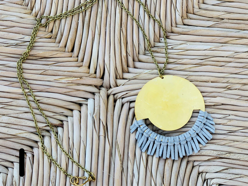 Leather fringe with brass necklace - VARIOUS STYLES