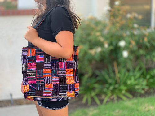 Patchwork tote - hill tribe