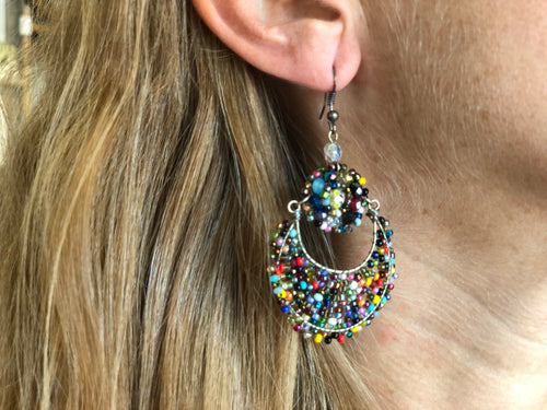Beaded antigua drop earrings
