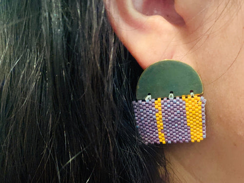 Earrings - woven beads with brass
