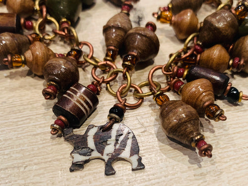 Charm Bracelet - Paper bead and animal