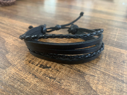 Vegan Leather bracelet adjustable - Simple & tube weave